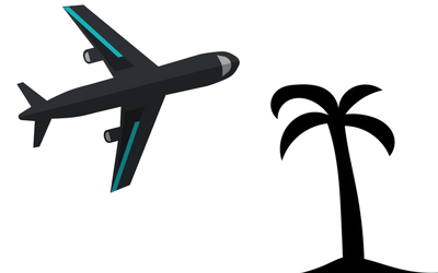 Airplane and palm tree representing patients flying into Puerto Vallarta for medical alternatives at Holistic Bio Spa