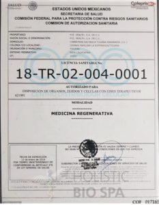 Are stem cells legal? Stamped and signed COFEPRIS Stem Cell Bank Legal Certification in Mexico