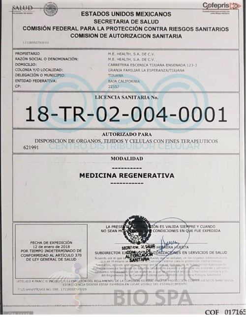 Stem cells license by COFEPRIS in Mexico