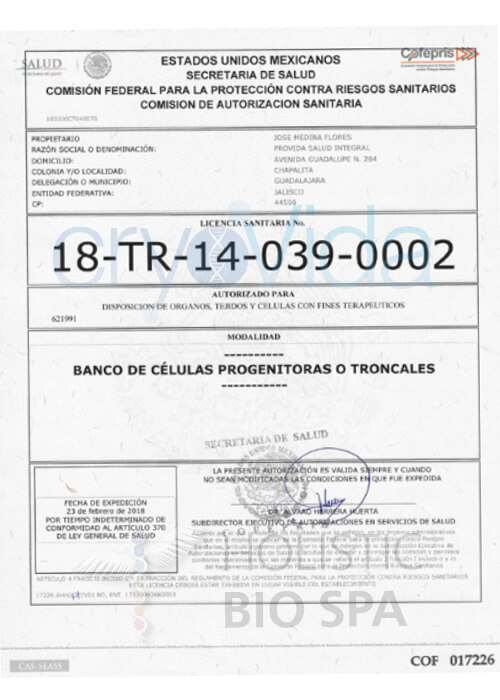 Stamped and signed CryoVida COFEPRIS Stem Cell Bank Legal Certification in Mexico