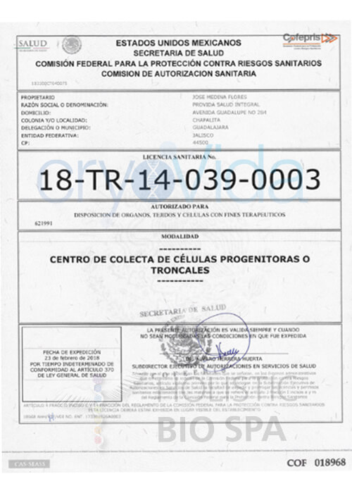Stamped and Signed CryoVida COFEPRIS Stem Cell Collection Legal Certification in Mexico