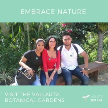 Holistic Bio Spa team connecting with nature at Vallarta Botanical Gardens