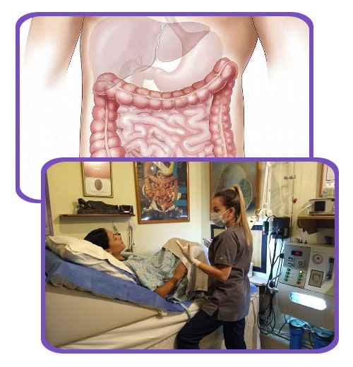 Collage of a colon and liver image and a patient having a colonic hydrotherapy at the Holistic Bio Spa