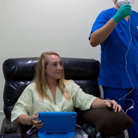 Woman receiving stem cell therapy at the Holistic Bio Spa in Puerto Vallarta, Mexico