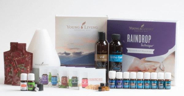 Raindrop Kit from Young Living with diffuser, essential oils, V6 oil and Ortho Ease® Massage Oil