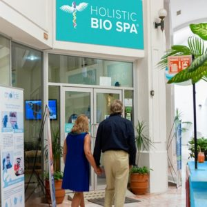 Reception area entrance of our tropical destination alternative treatments center and stem cell clinic in Mexico