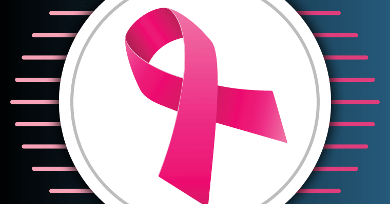 Pink ribbon to represent breast cancer awareness