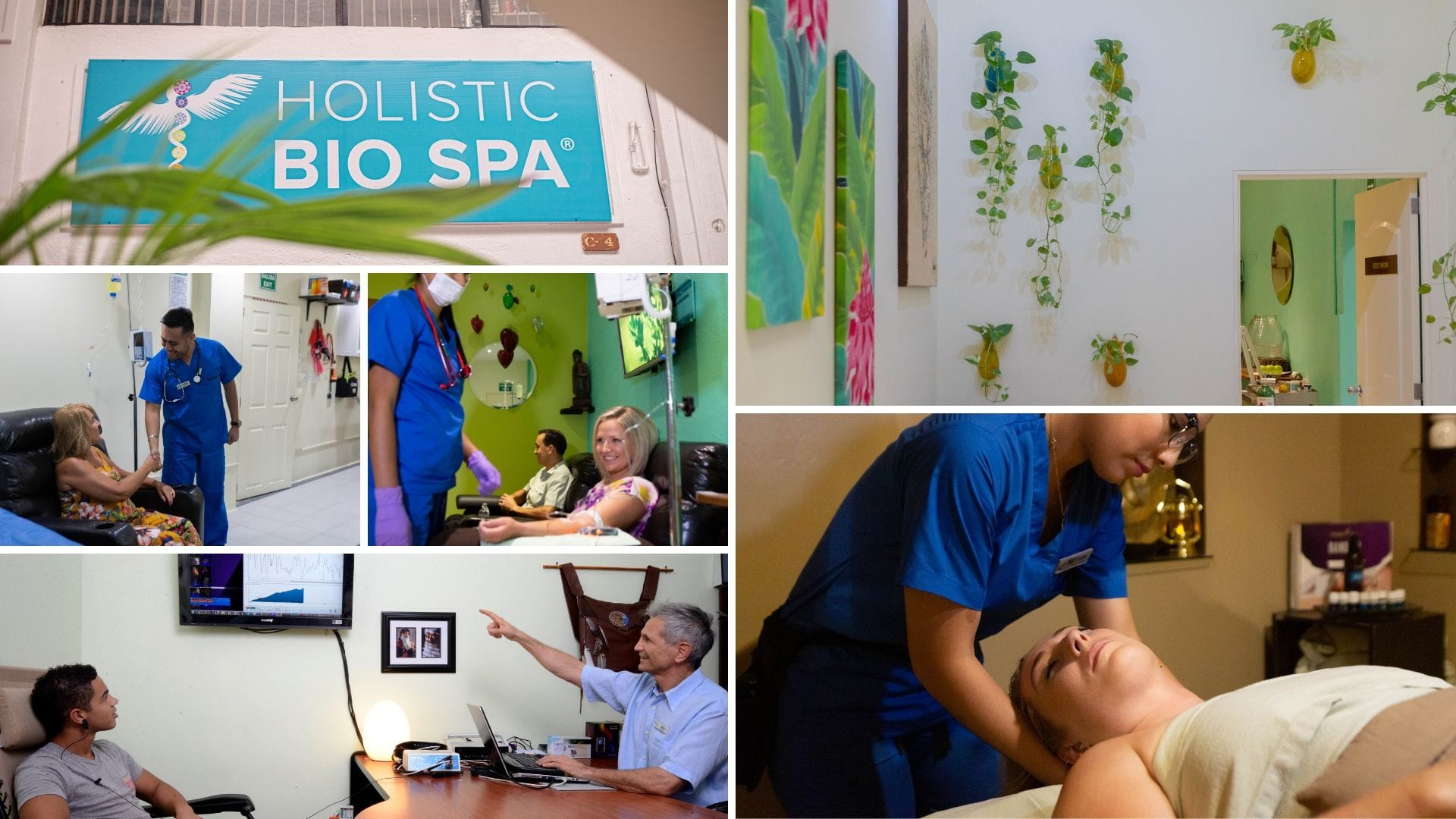 Collage of patients getting alternative medical treatments from our medical team in Puerto Vallarta, Mexico