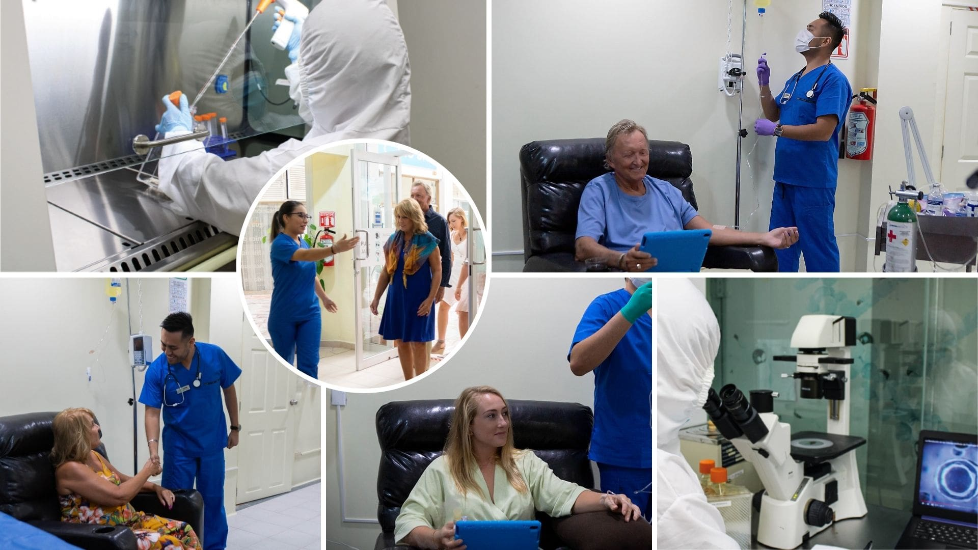 Collage of our medical and clinical staff at our practice caring for patients