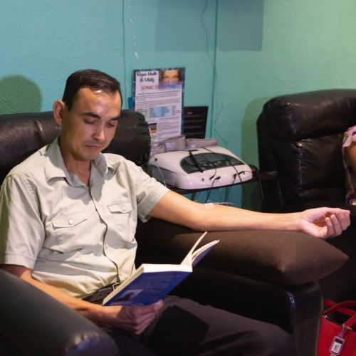 Patient at Holistic Bio Spa receiving routine IV drip therapy at our clinic