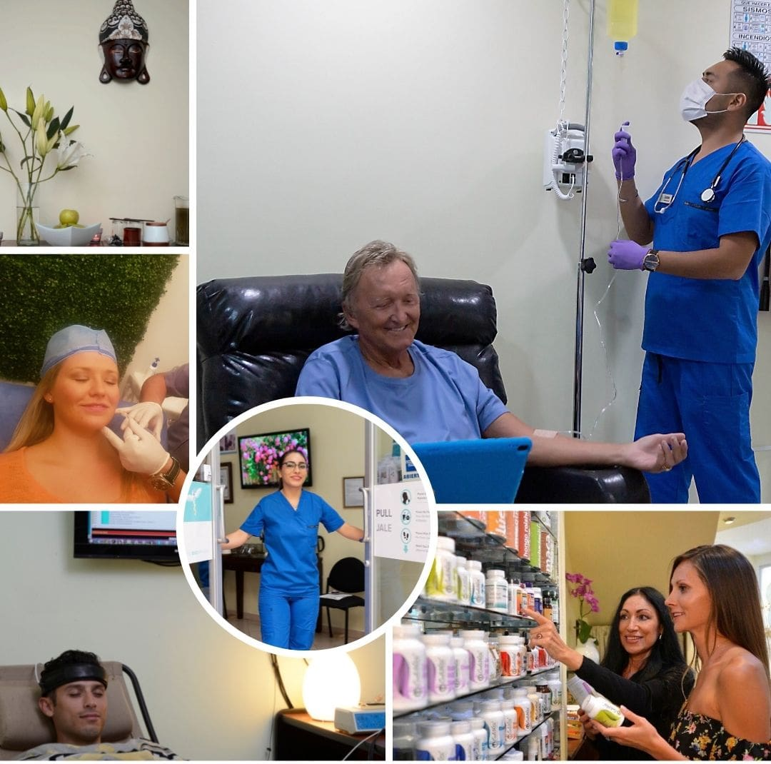 Collage of pictures of the alternative treatments, medical team, and patients of Holistic Bio Spa