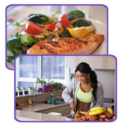 A healthy young woman prepares a fresh, clean, and healthy meal for herself.