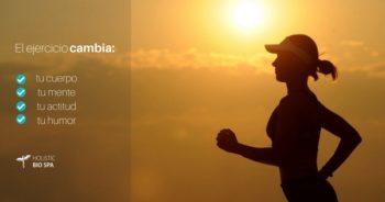 Mujer corriendo disfrutando los beneficios del ejercicio