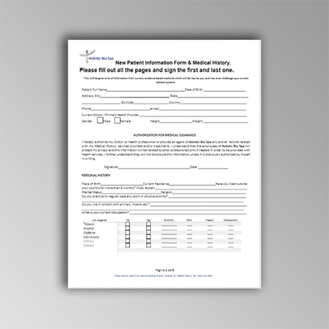 New patient electronic forms preview