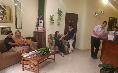 Group of people in the waiting room at our alternative medicine treatment center in Mexico
