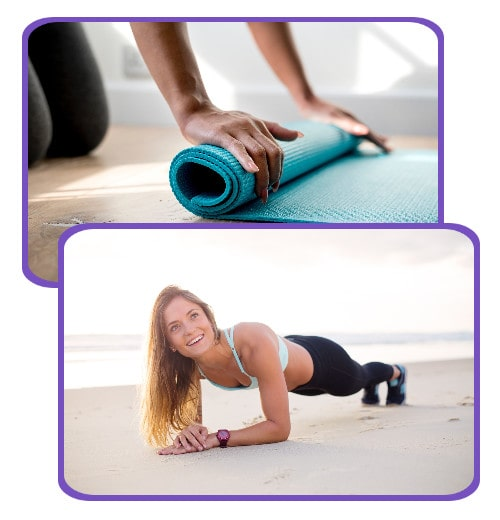 collage of a happy woman  exercising and a yoga mat to show that Young LIving Essential Oils nourish and support